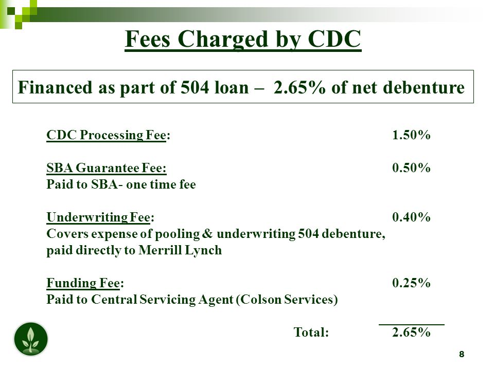 9 Effective Rate Rate the borrower actually pays Note rate (as of 9/12 Sale) 2.239% Plus Fees: Annual Central Servicing Agent Fee 0.100% CDC Servicing Fee (SEED.800 + SBA.125)  0.925% SBA Fee 0.938% Total Fees 1.963% SEED's Effective Rate (As of 9/12) 4.202%  SBA Required Servicing Fee – This fee can go up to 1.5%.