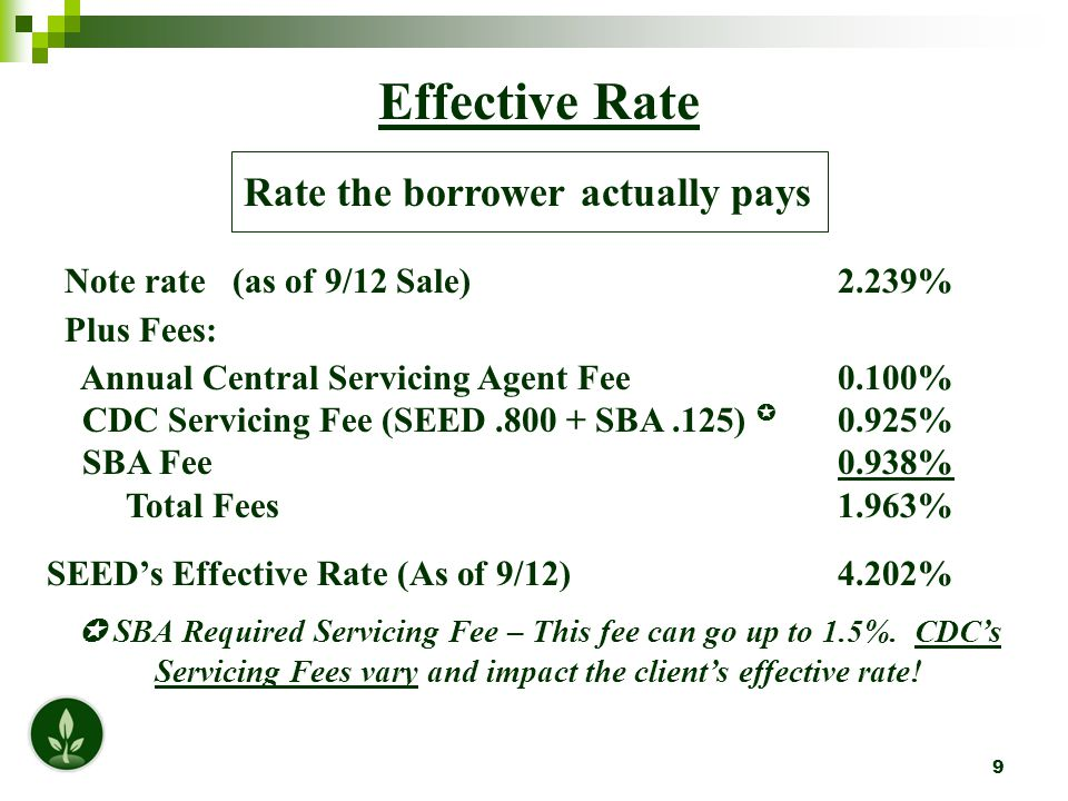 9 Effective Rate Rate the borrower actually pays Note rate (as of 9/12 Sale) 2.239% Plus Fees: Annual Central Servicing Agent Fee 0.100% CDC Servicing Fee (SEED.800 + SBA.125)  0.925% SBA Fee 0.938% Total Fees 1.963% SEED's Effective Rate (As of 9/12) 4.202%  SBA Required Servicing Fee – This fee can go up to 1.5%.