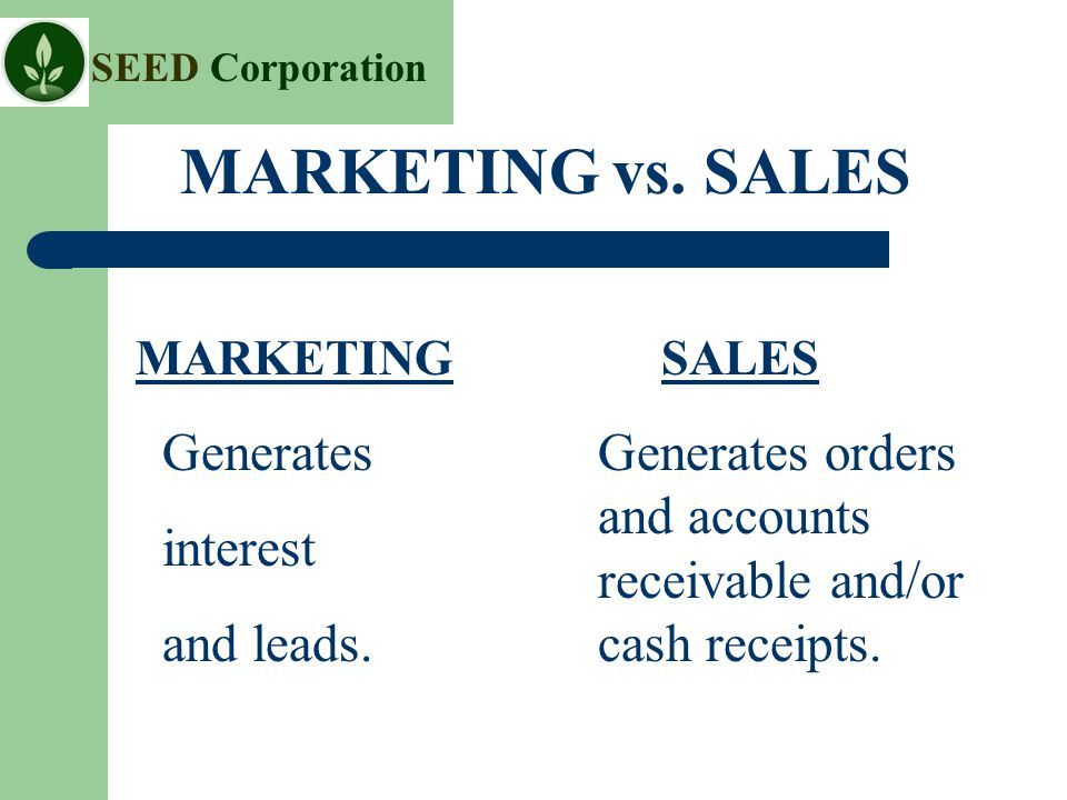 SEED Corporation MARKETING vs. SALES MARKETING Generates interest and leads.