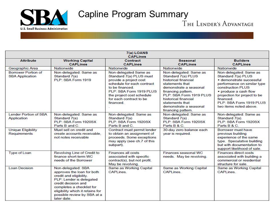 Capline Program Summary