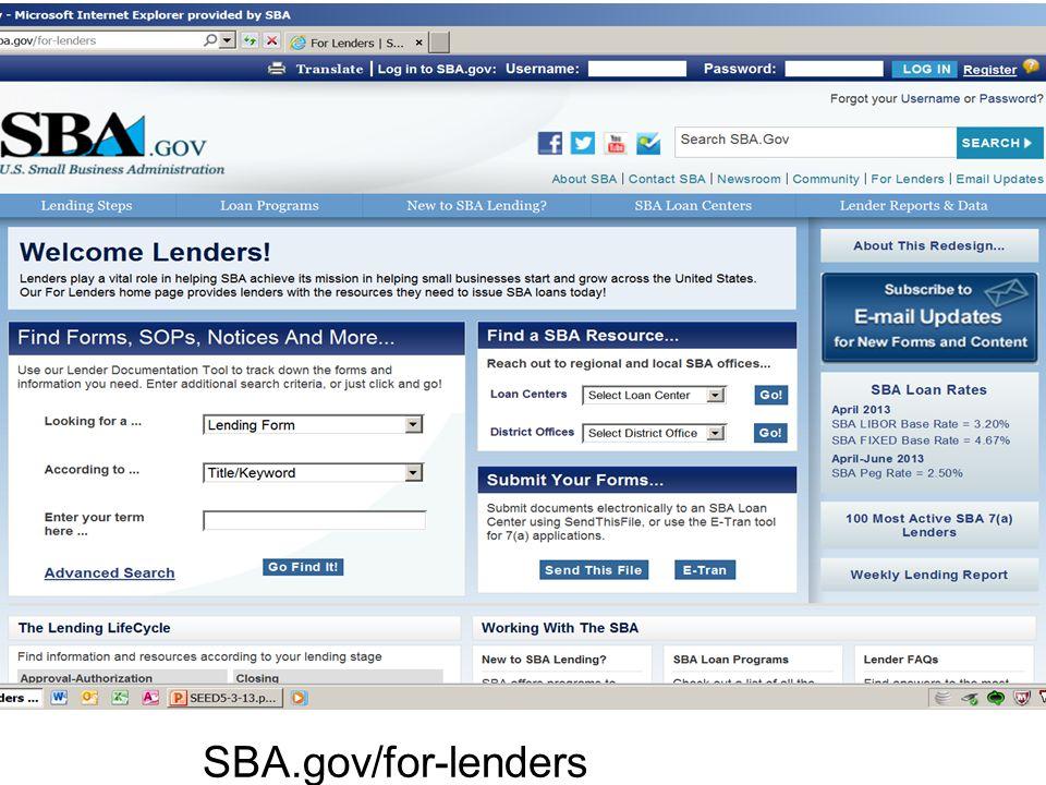 SBA.gov/for-lenders