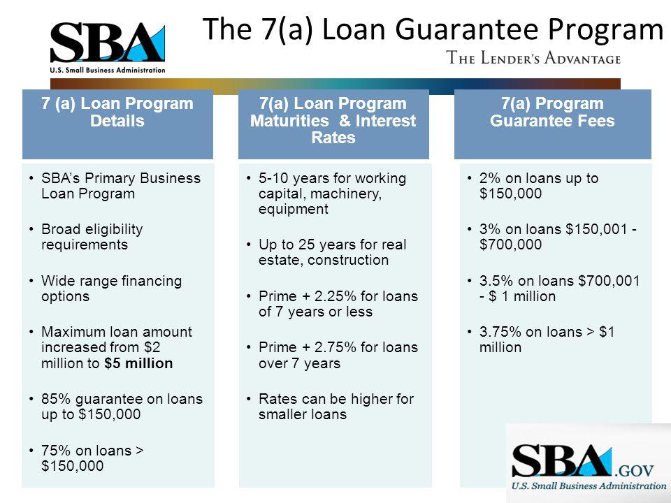 The 7(a) Loan Guarantee Program 7 (a) Loan Program Details SBA's Primary Business Loan Program Broad eligibility requirements Wide range financing opt