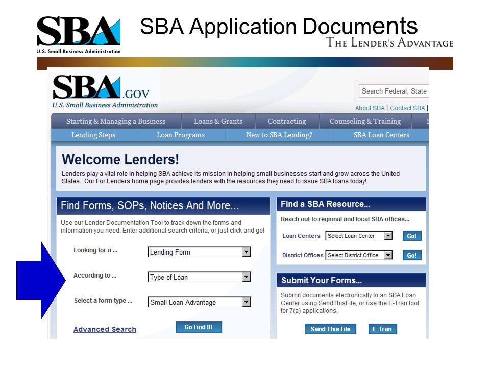 SBA Application Docum ents www.sba.gov/for-lenders