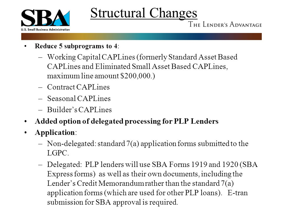 Structural Changes Reduce 5 subprograms to 4: –Working Capital CAPLines (formerly Standard Asset Based CAPLines and Eliminated Small Asset Based CAPLi
