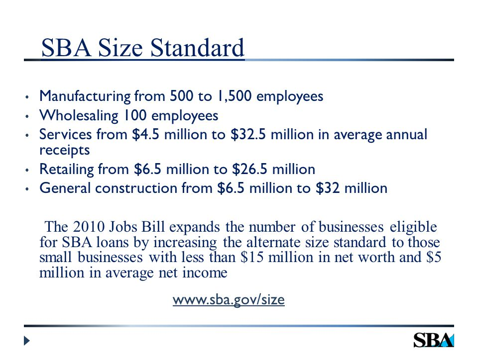 SBA Size Standard Manufacturing from 500 to 1,500 employees Wholesaling 100 employees Services from $4.5 million to $32.5 million in average annual receipts Retailing from $6.5 million to $26.5 million General construction from $6.5 million to $32 million The 2010 Jobs Bill expands the number of businesses eligible for SBA loans by increasing the alternate size standard to those small businesses with less than $15 million in net worth and $5 million in average net income www.sba.gov/size