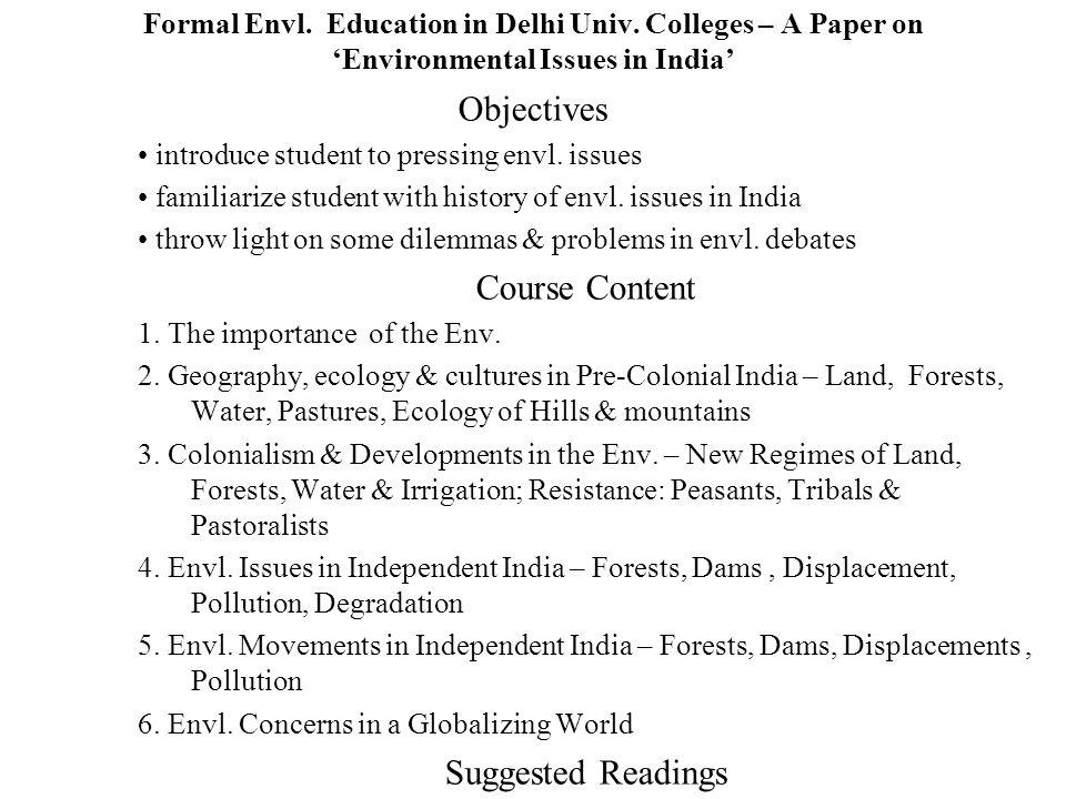 Formal Envl. Education in Delhi Univ.