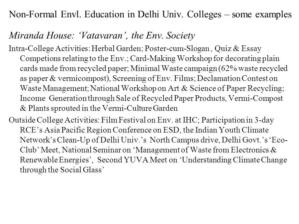 Non-Formal Envl. Education in Delhi Univ.
