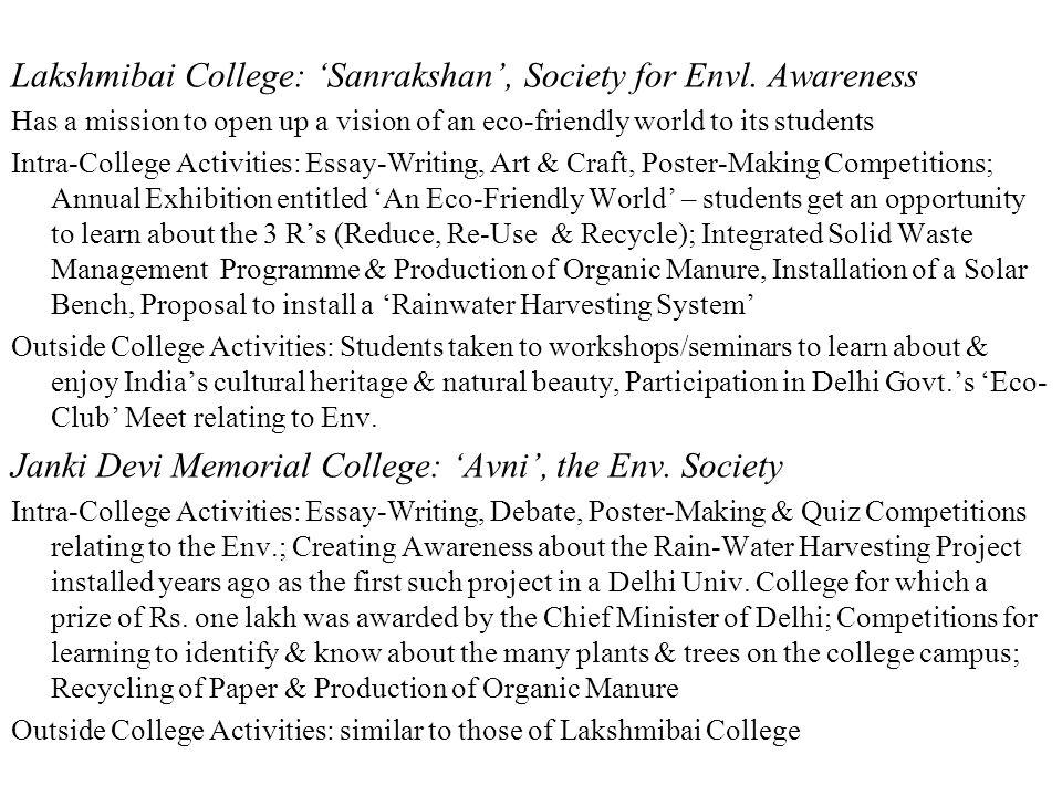 Lakshmibai College: 'Sanrakshan', Society for Envl.