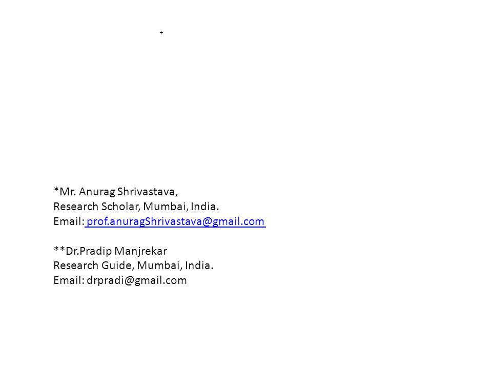 + *Mr. Anurag Shrivastava, Research Scholar, Mumbai, India.