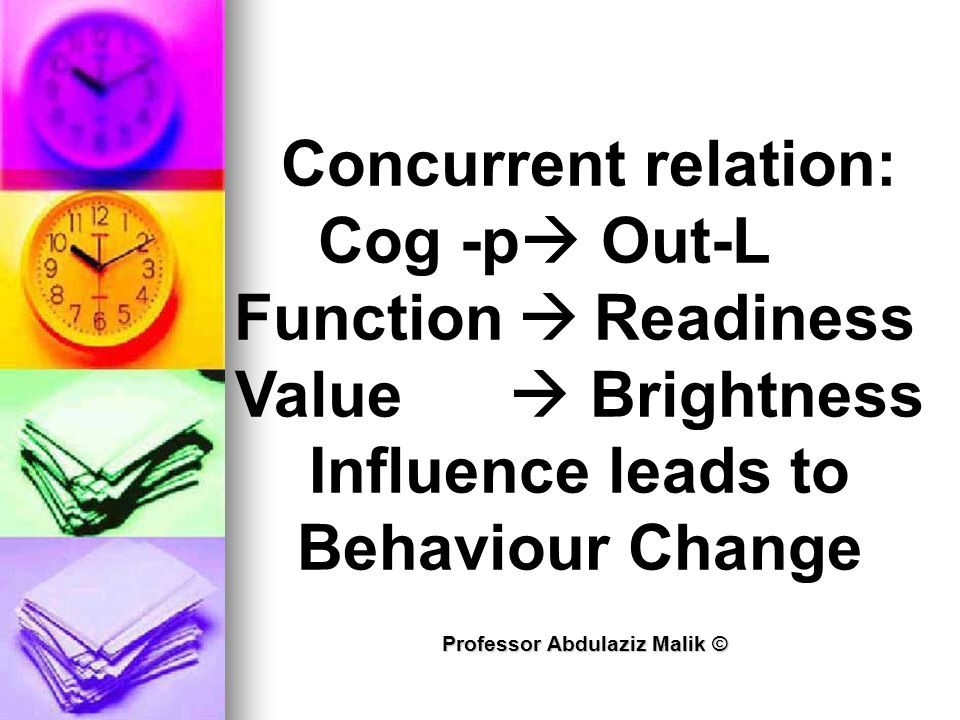Professor Abdulaziz Malik © Concurrent relation: Cog -p  Out-L Function  Readiness Value  Brightness Influence leads to Behaviour Change