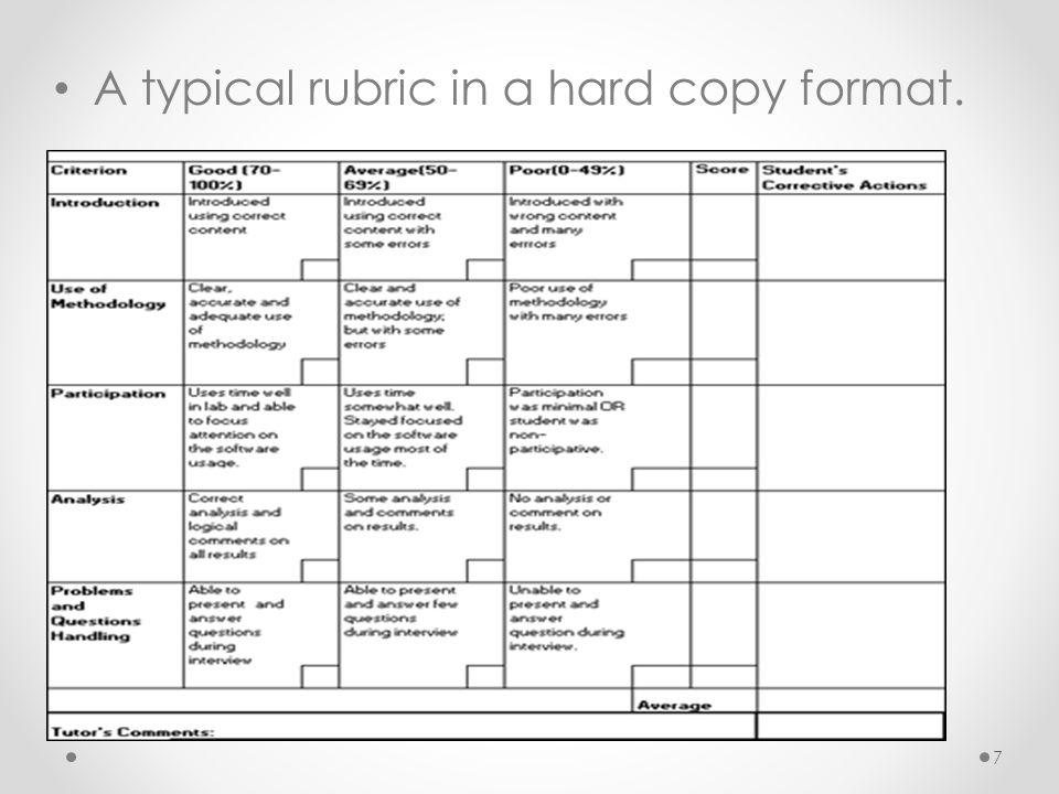A typical rubric in a hard copy format. 7