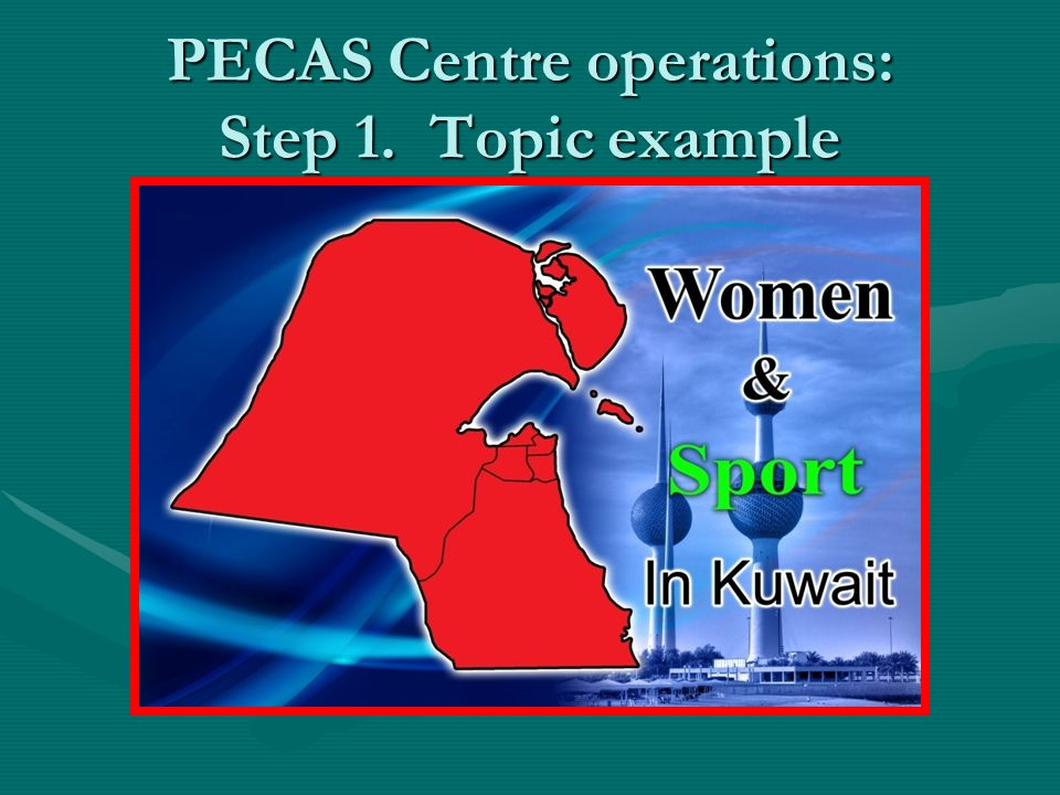 PECAS Centre operations: Step 1. Topic example