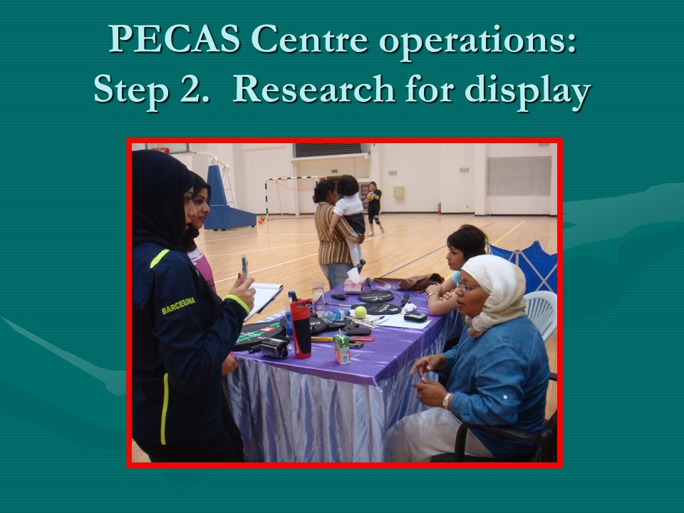 PECAS Centre operations: Step 2. Research for display
