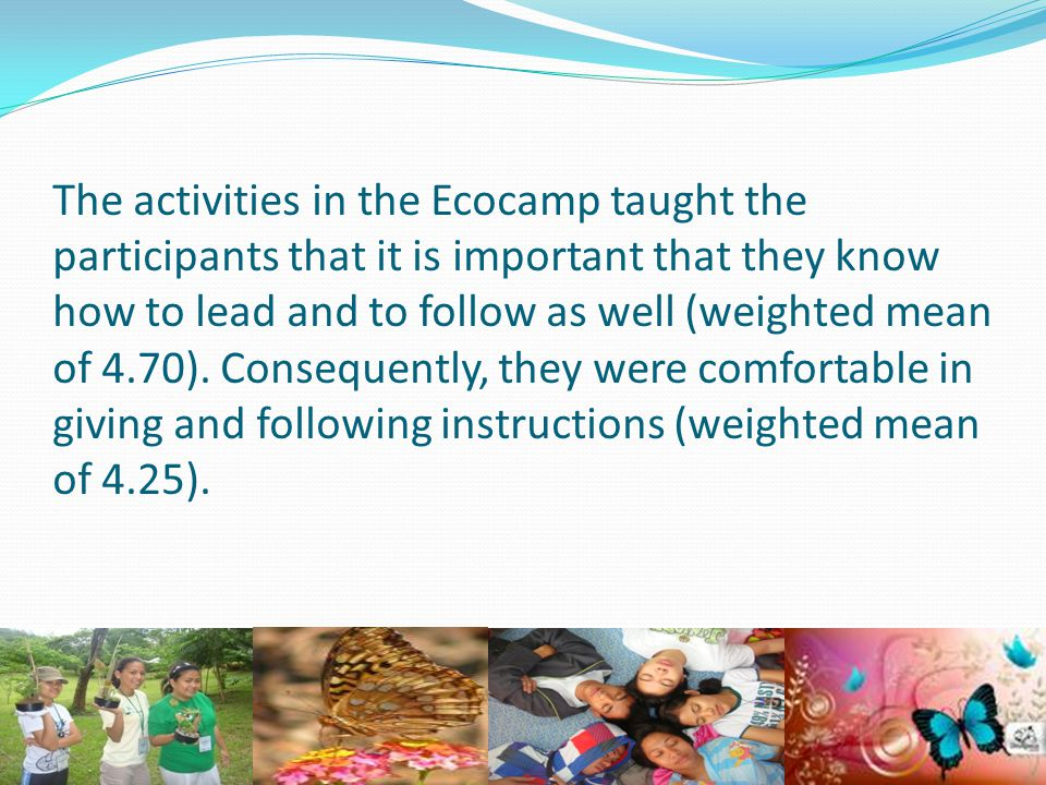 The activities in the Ecocamp taught the participants that it is important that they know how to lead and to follow as well (weighted mean of 4.70).