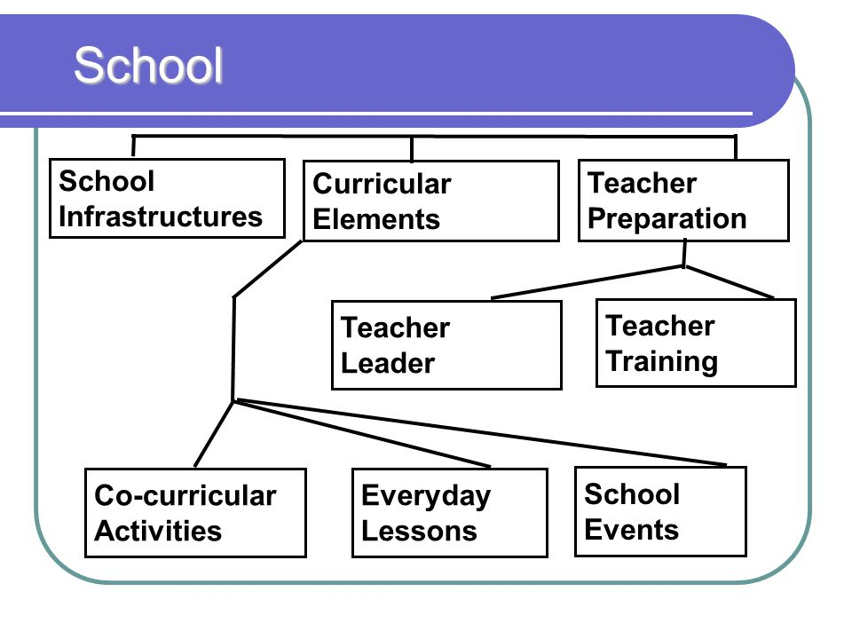 Teacher Preparation Curricular Elements School Infrastructures Teacher Leader Teacher Training Co-curricular Activities Everyday Lessons School Events