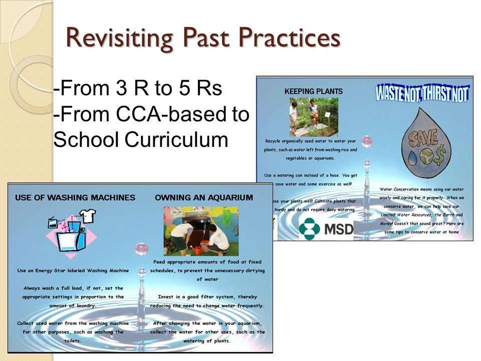 Revisiting Past Practices -From 3 R to 5 Rs -From CCA-based to School Curriculum