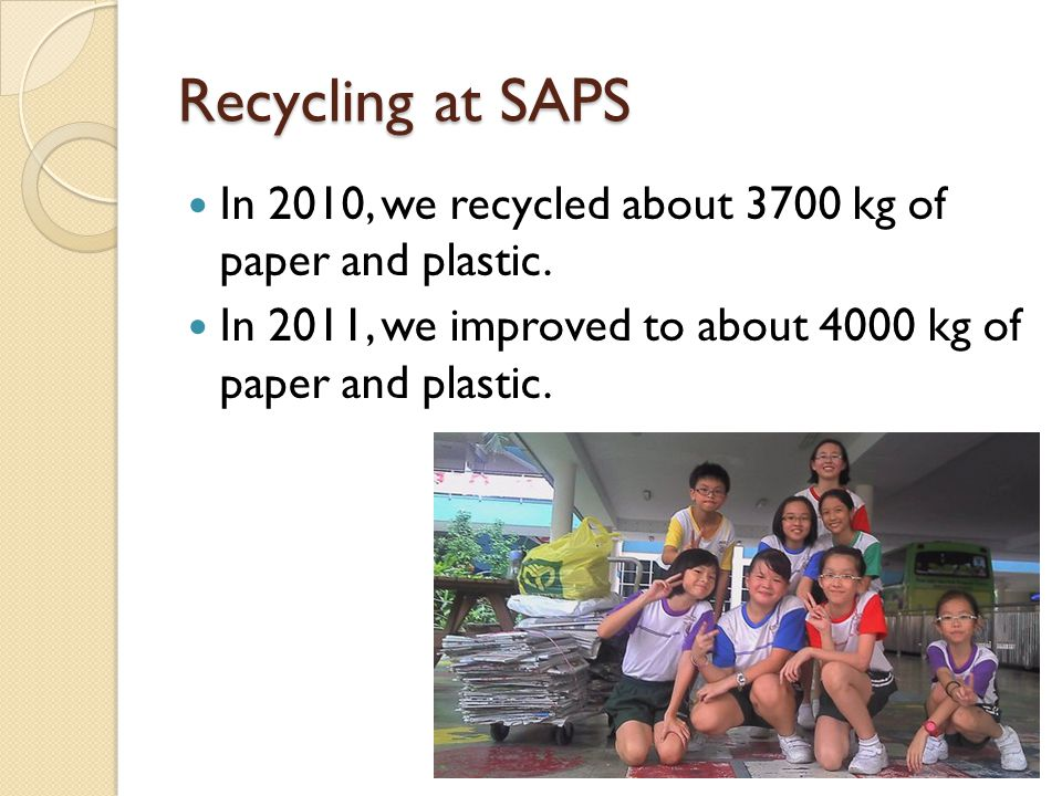 Recycling at SAPS In 2010, we recycled about 3700 kg of paper and plastic.