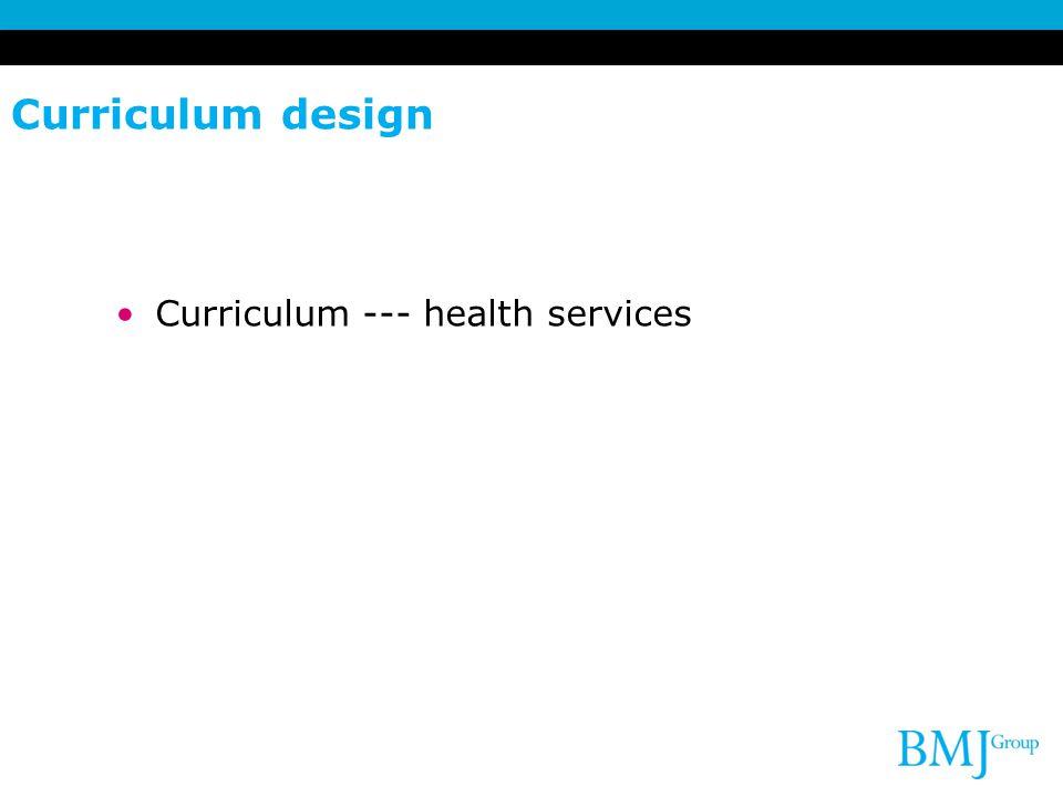Curriculum design Curriculum --- health services