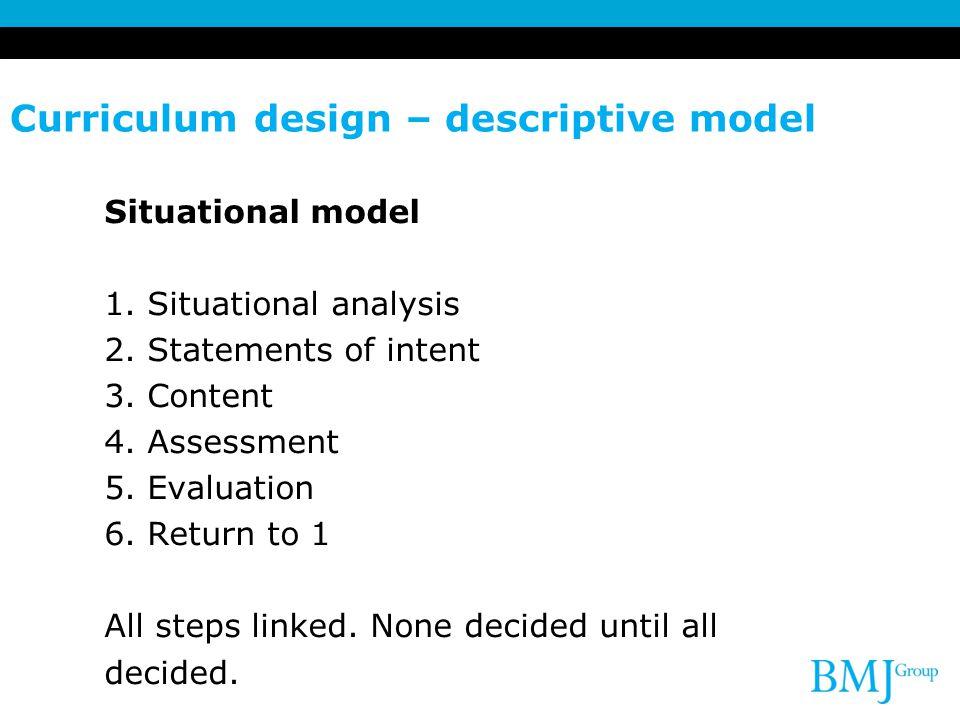 Curriculum design – descriptive model Situational model 1. Situational analysis 2. Statements of intent 3. Content 4. Assessment 5. Evaluation 6. Retu