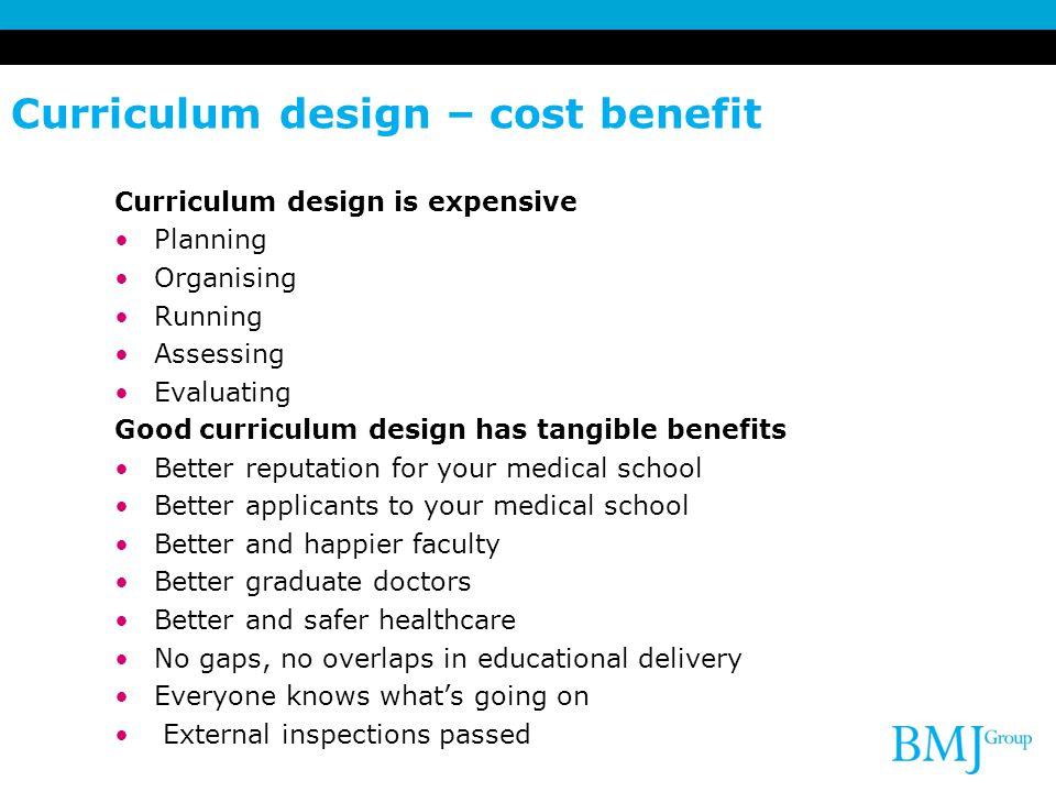 Curriculum design – cost benefit Curriculum design is expensive Planning Organising Running Assessing Evaluating Good curriculum design has tangible b