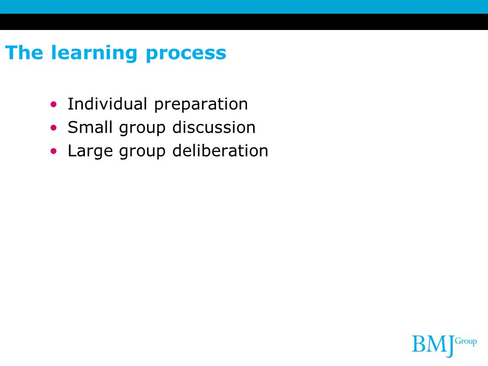 The learning process Individual preparation Small group discussion Large group deliberation