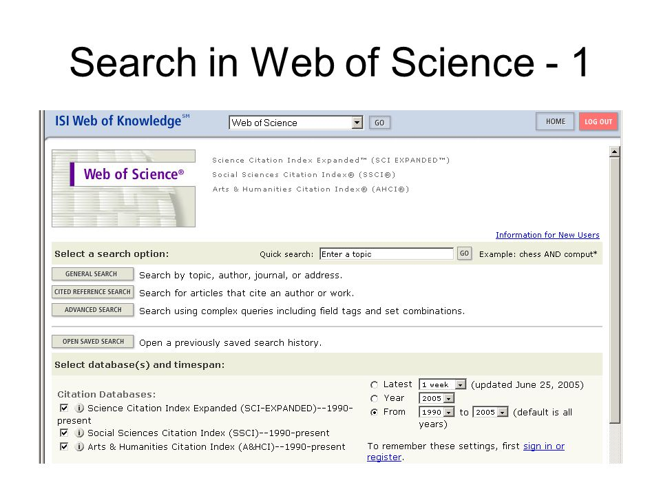 Search in Web of Science - 1