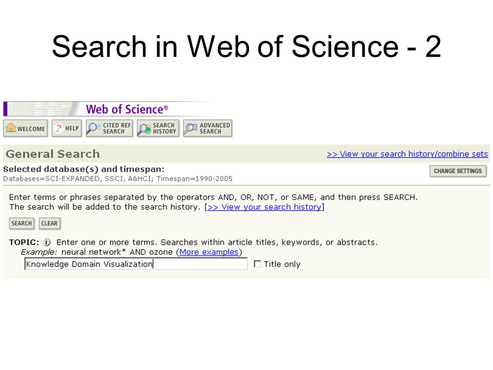 Search in Web of Science - 2
