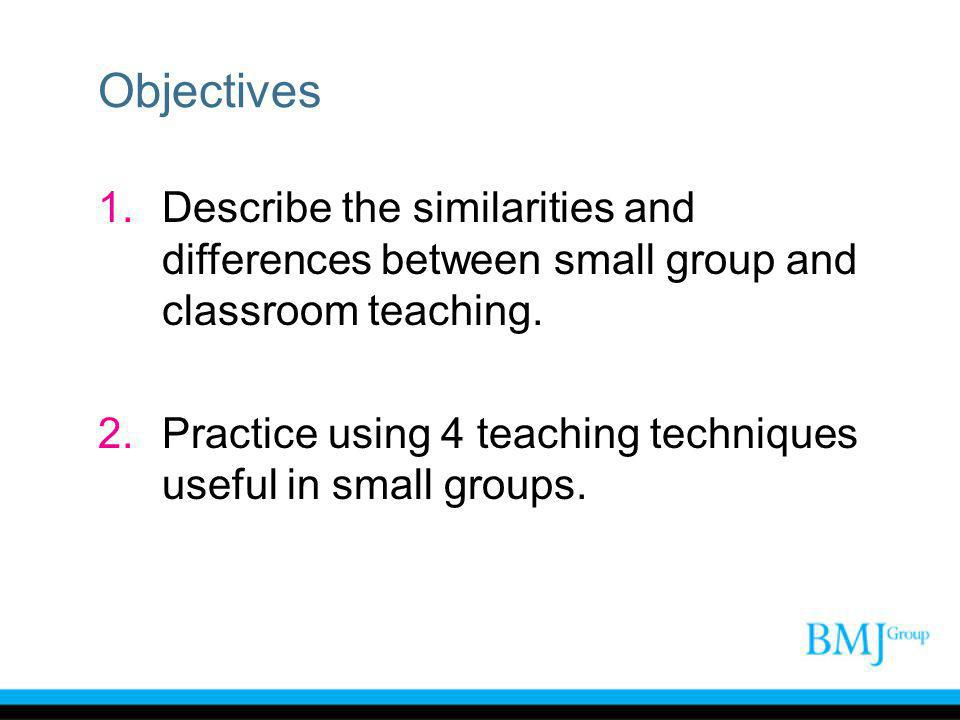 Objectives 1.Describe the similarities and differences between small group and classroom teaching.