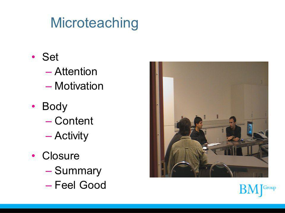 Microteaching Set –Attention –Motivation Body –Content –Activity Closure –Summary –Feel Good