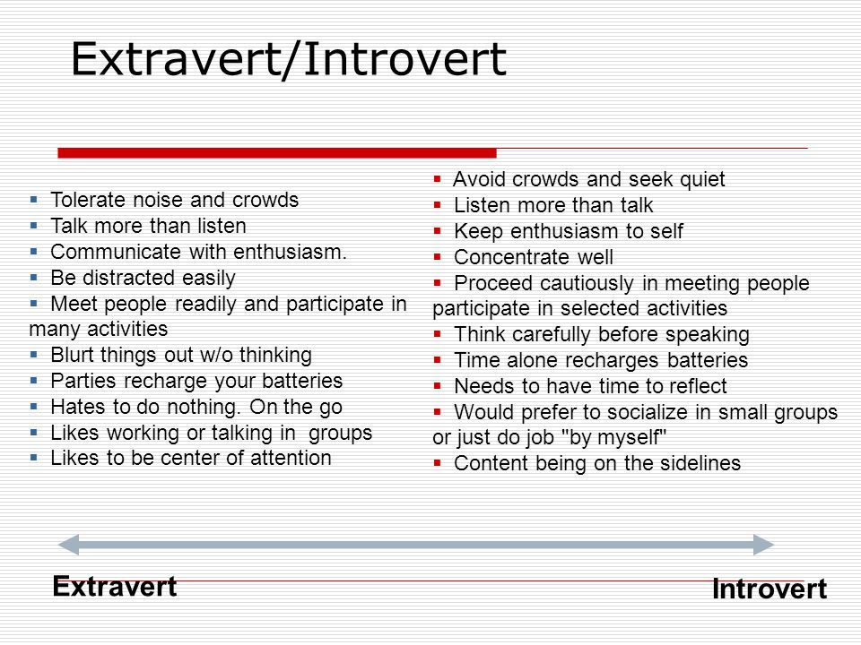 Extravert/Introvert Extravert Introvert  Tolerate noise and crowds  Talk more than listen  Communicate with enthusiasm.  Be distracted easily  Me