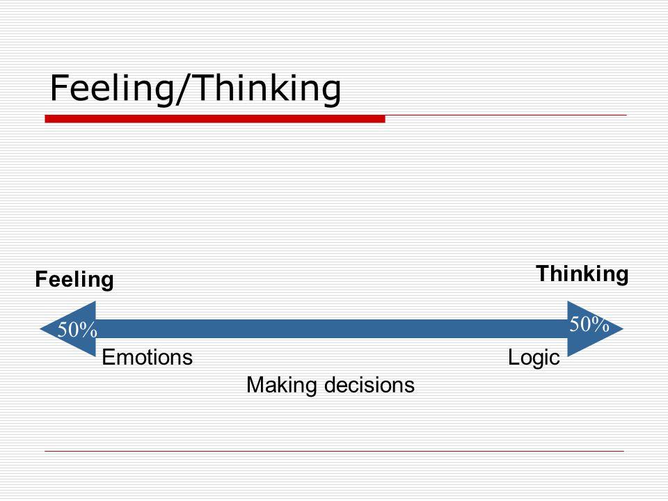 Feeling/Thinking Making decisions EmotionsLogic Feeling Thinking 50%