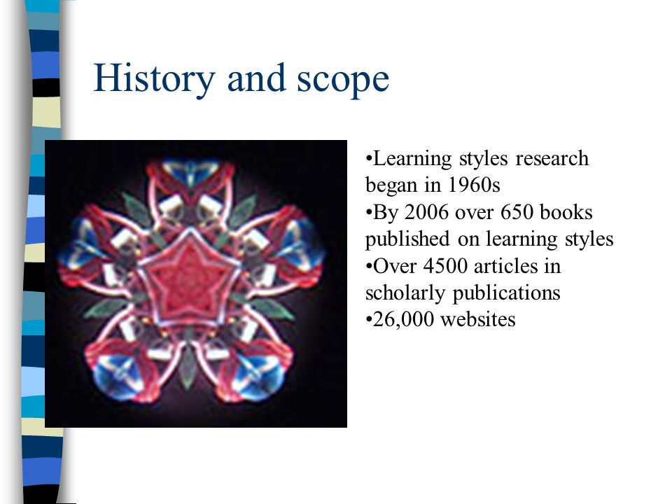History and scope Learning styles research began in 1960s By 2006 over 650 books published on learning styles Over 4500 articles in scholarly publicat
