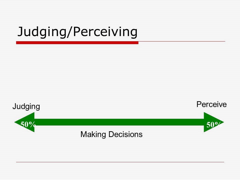 Judging/Perceiving Making Decisions Judging Perceive 50%