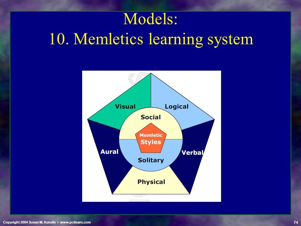 74 Copyright 2004 Susan M. Rundle www.pcilearn.com Models: 10. Memletics learning system