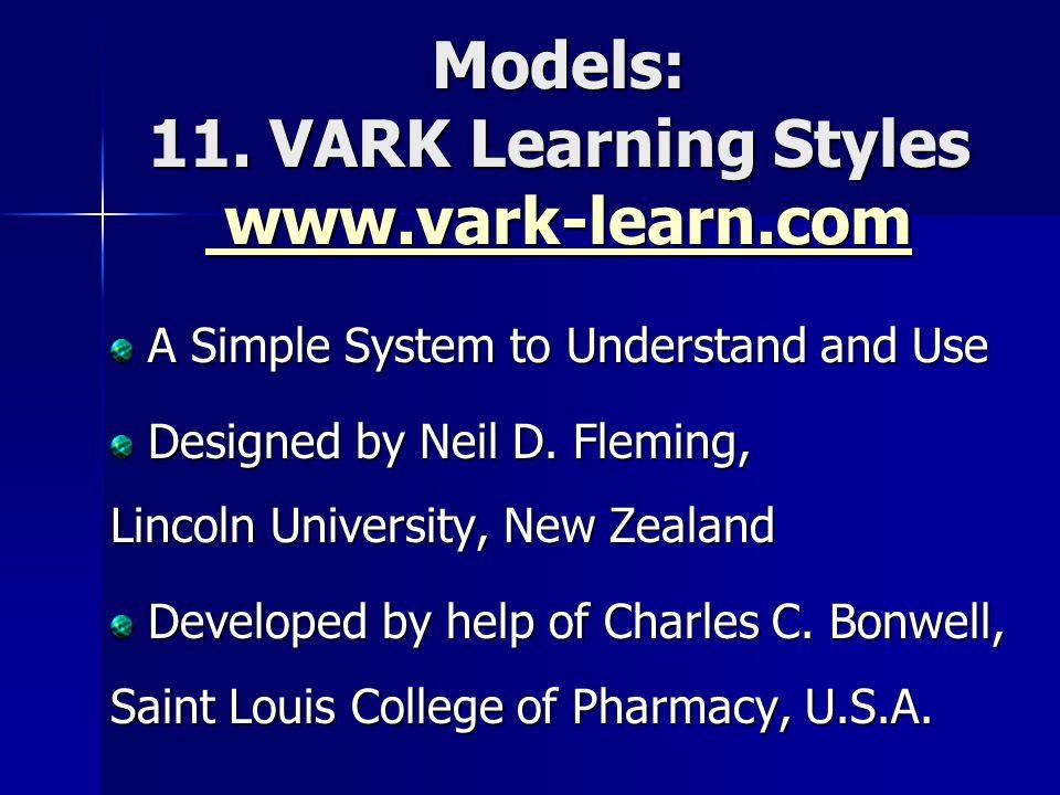 Models: 11. VARK Learning Styles www.vark-learn.com www.vark-learn.com www.vark-learn.com A Simple System to Understand and Use A Simple System to Und