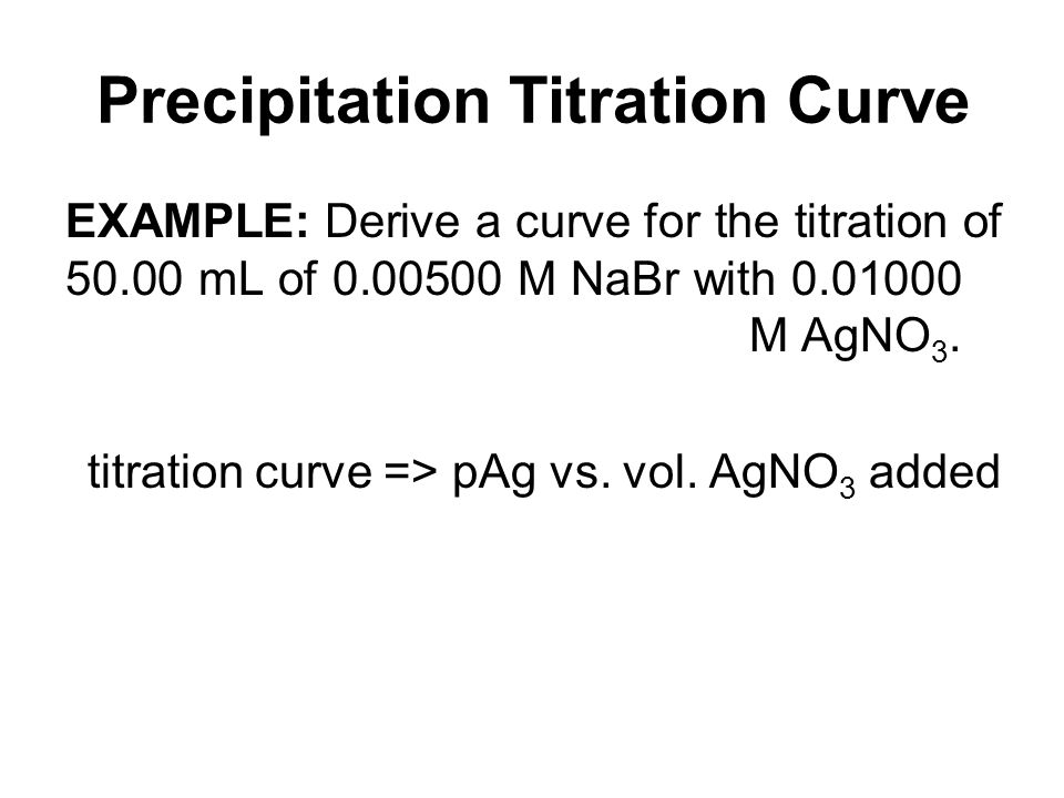 Precipitation Titration Curve EXAMPLE: Derive a curve for the titration of 50.00 mL of 0.00500 M NaBr with 0.01000 M AgNO 3. titration curve => pAg vs