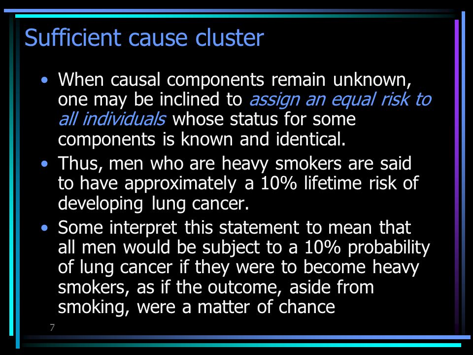 6 An effect with three sufficient cause cluster U is a necessary cause for the effect Three sufficient cause cluster of a disease U BA U EA U EB