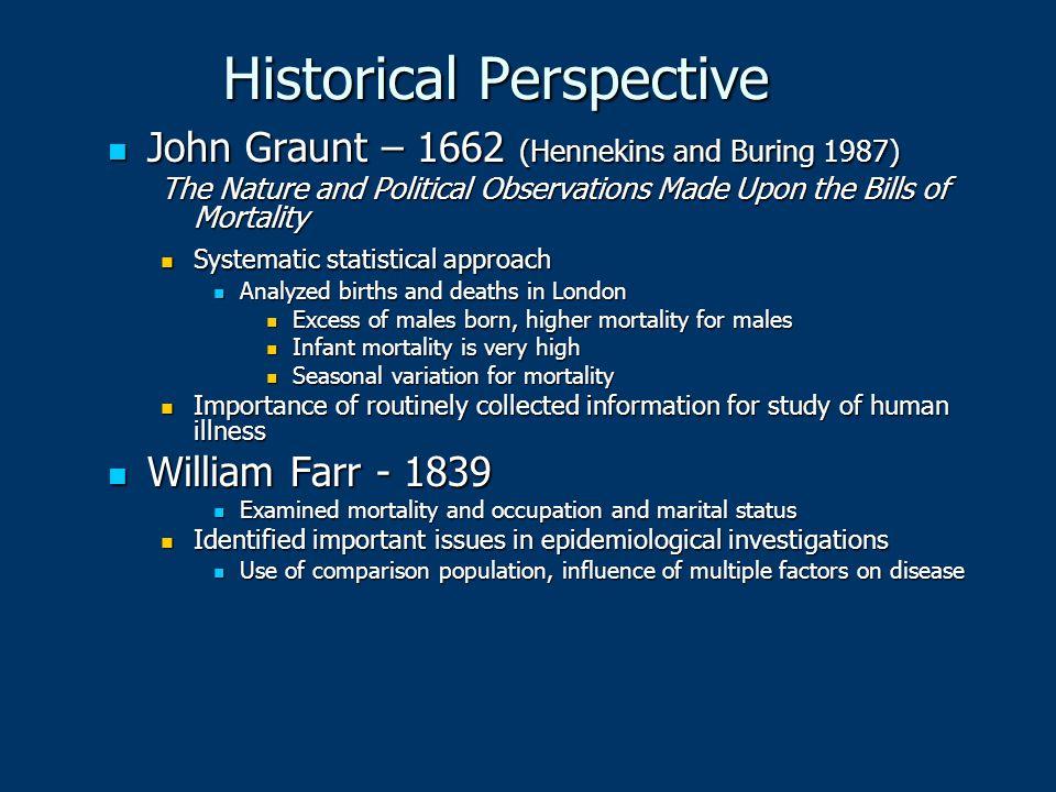 Historical Perspective John Graunt – 1662 (Hennekins and Buring 1987) John Graunt – 1662 (Hennekins and Buring 1987) The Nature and Political Observat