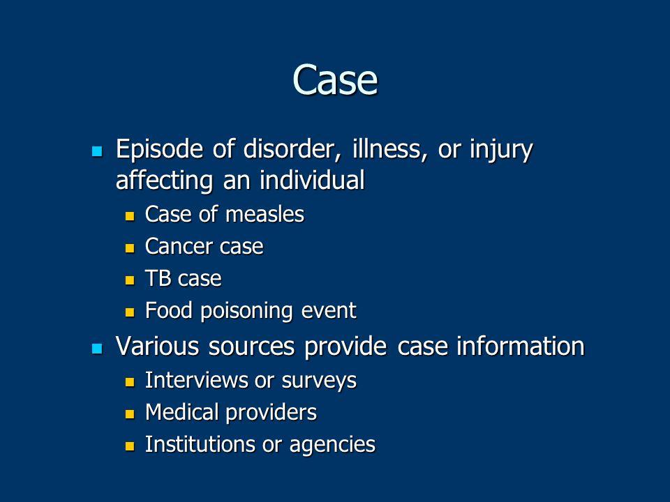 Case Episode of disorder, illness, or injury affecting an individual Episode of disorder, illness, or injury affecting an individual Case of measles C