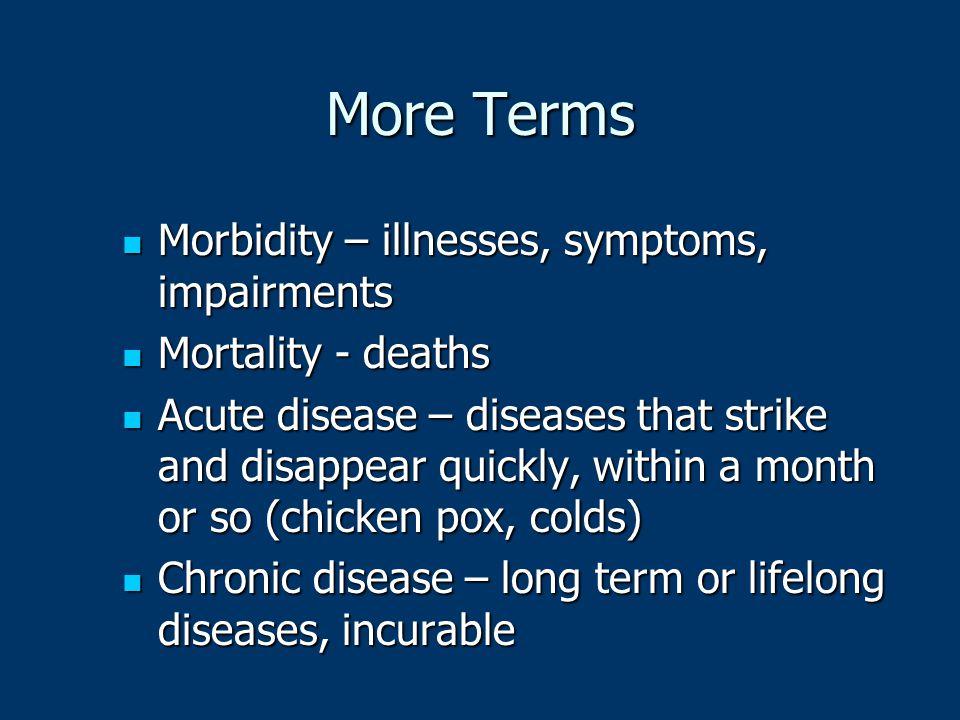 More Terms Morbidity – illnesses, symptoms, impairments Morbidity – illnesses, symptoms, impairments Mortality - deaths Mortality - deaths Acute disea