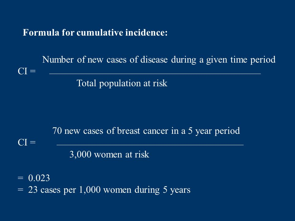 Number of new cases of disease during a given time period CI = Total population at risk Formula for cumulative incidence: 70 new cases of breast cance