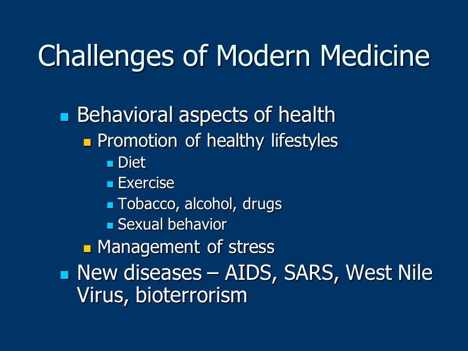 Challenges of Modern Medicine Behavioral aspects of health Behavioral aspects of health Promotion of healthy lifestyles Promotion of healthy lifestyle