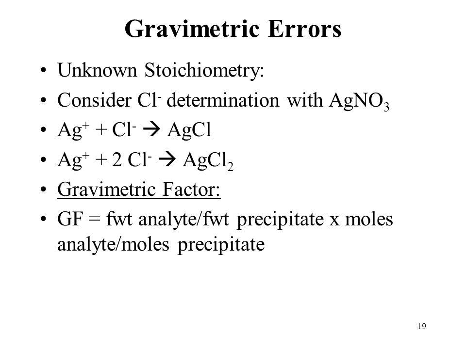 19 Gravimetric Errors Unknown Stoichiometry: Consider Cl - determination with AgNO 3 Ag + + Cl -  AgCl Ag + + 2 Cl -  AgCl 2 Gravimetric Factor: GF