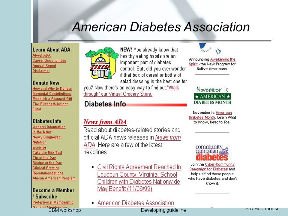 A.A.Haghdoost EBM workshopDeveloping guideline American Diabetes Association