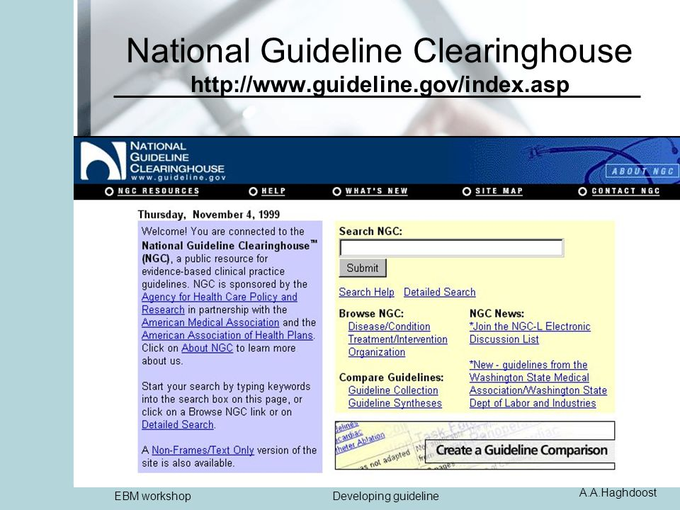 A.A.Haghdoost EBM workshopDeveloping guideline National Guideline Clearinghouse http://www.guideline.gov/index.asp