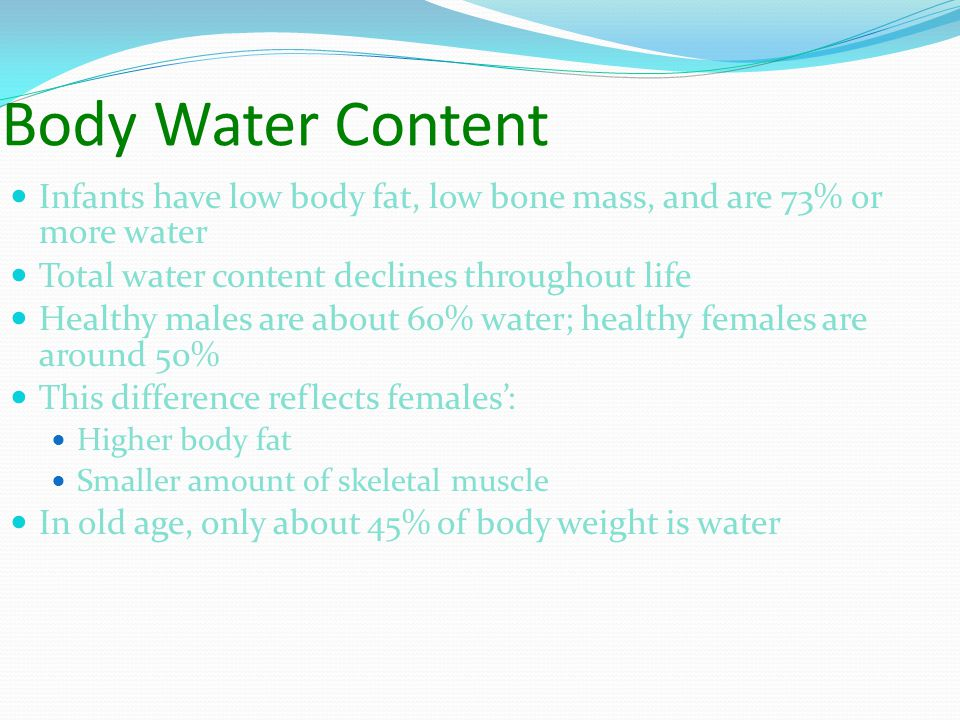 Body Water Content Infants have low body fat, low bone mass, and are 73% or more water Total water content declines throughout life Healthy males are about 60% water; healthy females are around 50% This difference reflects females': Higher body fat Smaller amount of skeletal muscle In old age, only about 45% of body weight is water