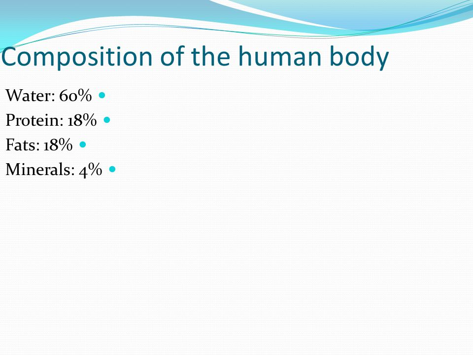 Composition of the human body Water: 60% Protein: 18% Fats: 18% Minerals: 4%