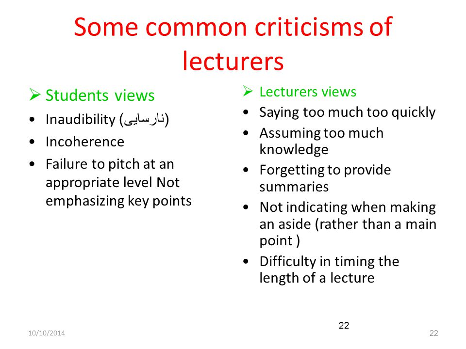 10/10/201422 Some common criticisms of lecturers  Students views Inaudibility ( نارسایی ) Incoherence Failure to pitch at an appropriate level Not em