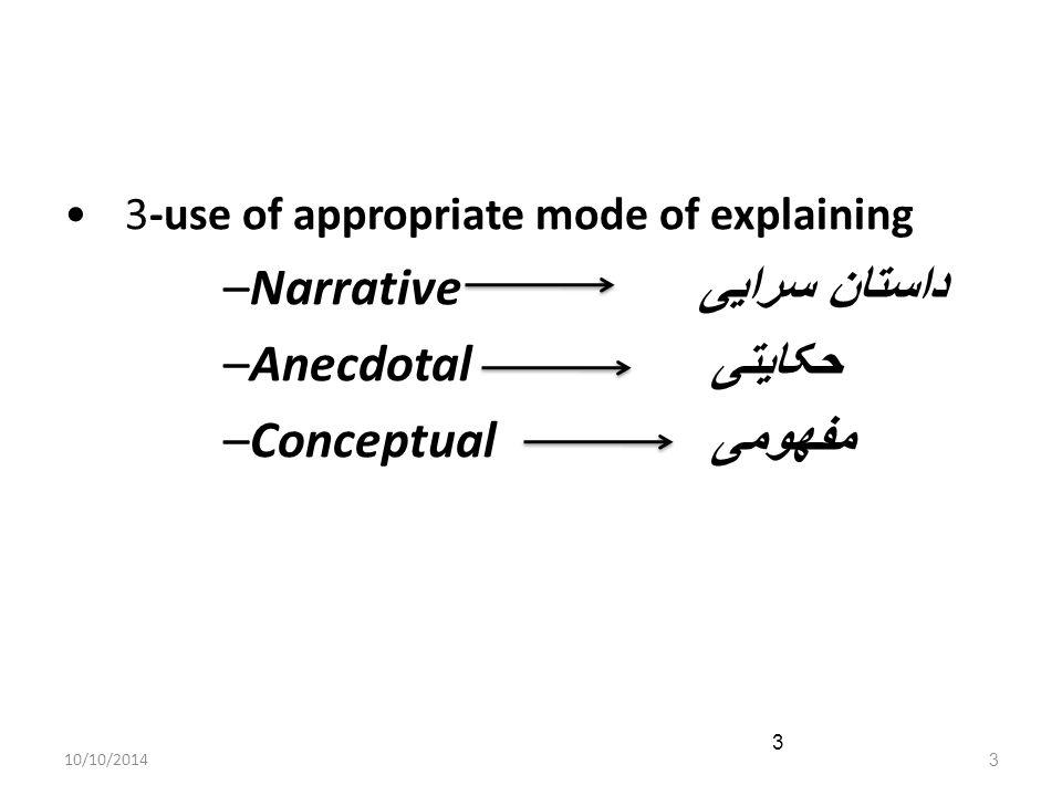 10/10/20143 3 3-use of appropriate mode of explaining –Narrative داستان سرایی –Anecdotal حکایتی –Conceptual مفهومی
