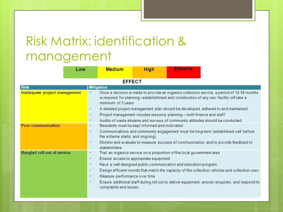 Risk Matrix: identification & management LowMediumHigh Extreme EFFECT RiskMitigation Inadequate project management Once a decision is made to provide an organics collection service, a period of 12-18 months is required for planning –establishment and construction of any new facility will take a minimum of 3 years A detailed project management plan should be developed, adhered to and maintained Project management incudes resource planning – both finance and staff Audits of waste streams and surveys of community attitudes should be conducted.